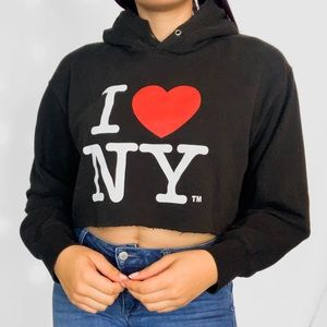 Tops - I Love NY Cropped Hoodie